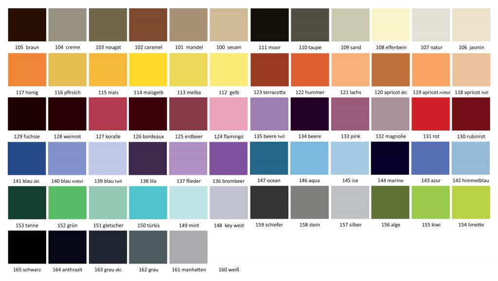 Farbpalette für unser Badteppichsortiment Polyacryl